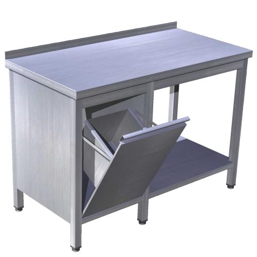 Stôl pracovný s policou a výklopným košom, PSK-p