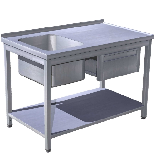 Stôl umývací s policou a zásuvkou, USN-1pz