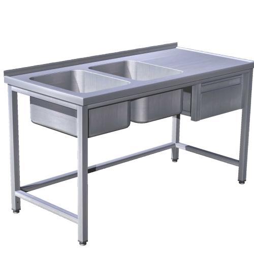 Stôl umývací 2 x drez, so zásuvkou, USN-3z