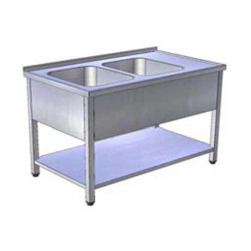 Stôl umývací 2 x drez, krytovaný s policou, USN-3kp