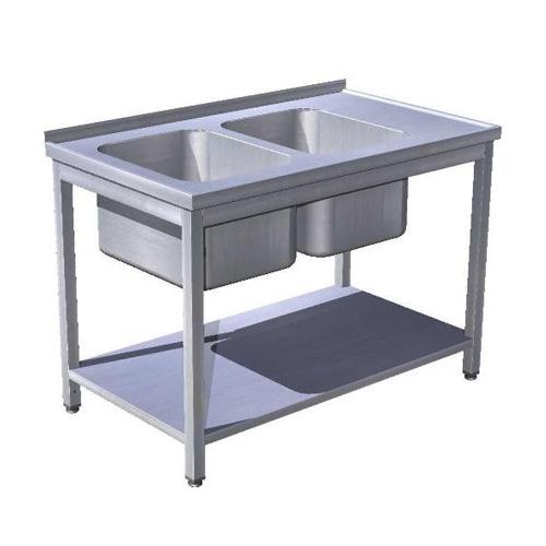 Stôl umývací 2 x drez,  s policou