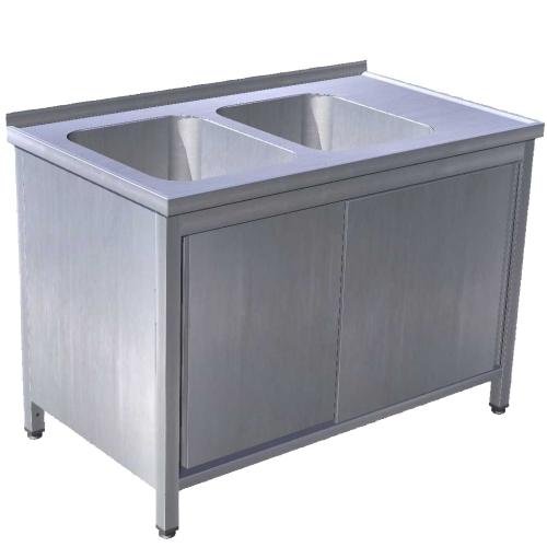 Stôl umývací 2 x drez, s posuvnými dverami, USN-3pd