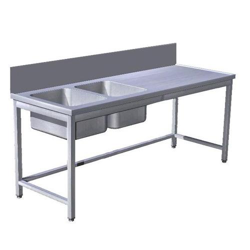 Stôl predumývací 2 x drez, lem 300mm, USN-3