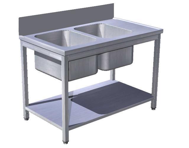 Stôl predumývací s policou 2 x drez, lem 300mm, USN-3p