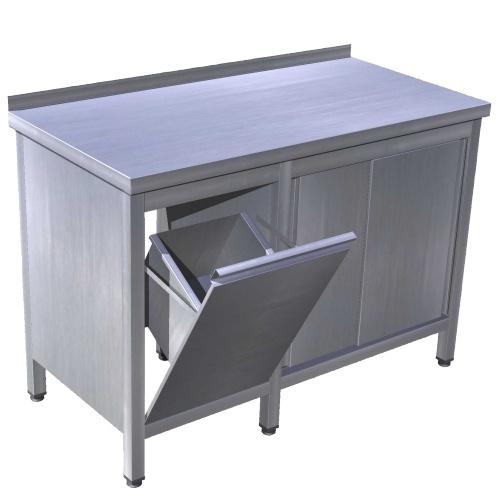 Stôl pracovný s posuvnými dverami a výklopným košom, PSK-pd