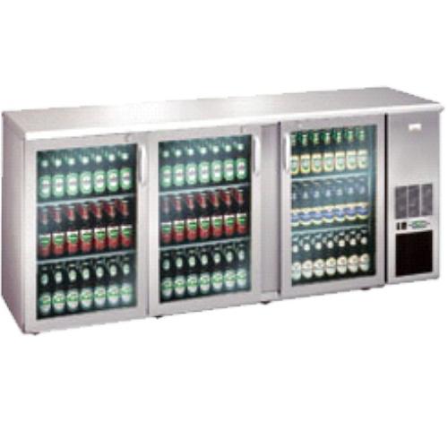 Stôl chladiaci barový, 3 x presklené dvere, nerezový
