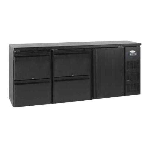 Stôl chladiaci barový, 4 x zásuvka, 1 x dvere, antracit