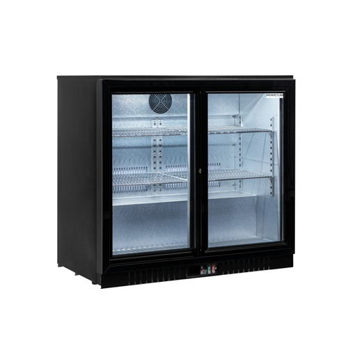 Stôl chladiaci barový, 2 x presklené dvere-BAR-286SG