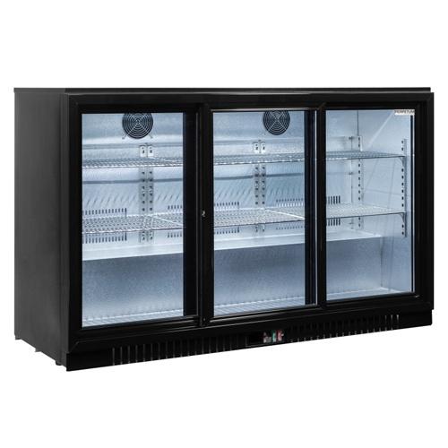 Stôl chladiaci barový, 3 x presklené dvere-BAR-386SG