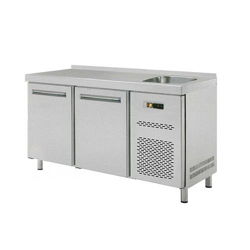 Stôl chladiaci s drezom, 2 x dvere-RT-2D-S