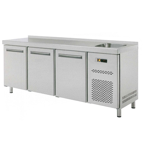 Stôl chladiaci s drezom, 3 x dvere-RT-3D-S