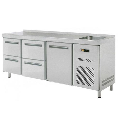 Stôl chladiaci s drezom, 1 x dvere, 4 x zásuvka-RT-3D-1D4Z-S