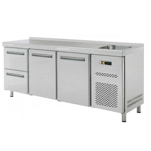 Stôl chladiaci s drezom, 2 x dvere, 2 x zásuvka-RT-3D-2D2Z-S