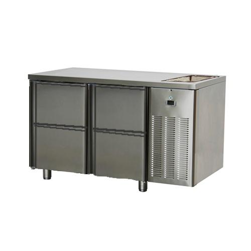 Stôl chladiaci s drezom, 4 x zásuvka