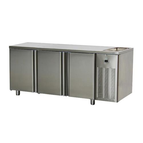 Stôl chladiaci s drezom, 3 x dvere-SCH-3D+Dr