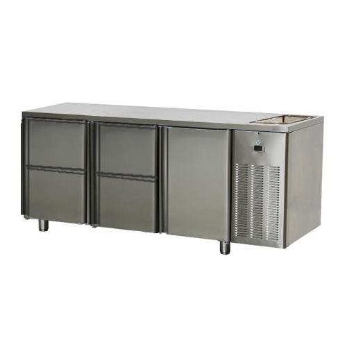 Stôl chladiaci s drezom, 1 x dvere, 4 x zásuvka-SCH-3D-1D4ZDr