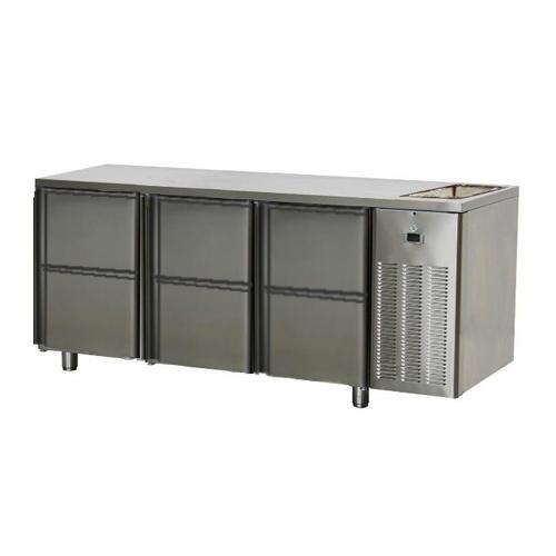 Stôl chladiaci s drezom, 6 x zásuvka-SCH-3D-6ZDr