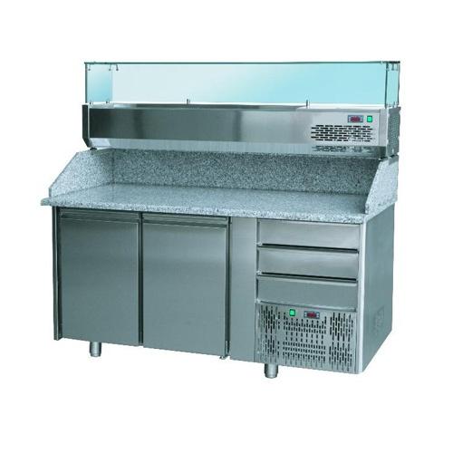 Stôl pizza, 2 x dvere, zásuvky, s chlad. vitrínkou 7xGN1/4