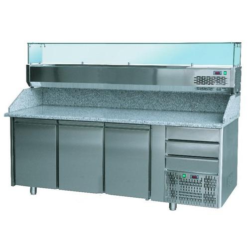 Stôl pizza, 3 x dvere, 3 x zásuvka, s chlad. vitrínkou 9xGN1/4 a zásuvkami