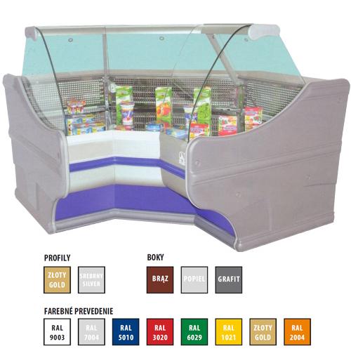 Vitrína chladiaca, rohový modul vnútorný 450 l-WCh-6/1BNw