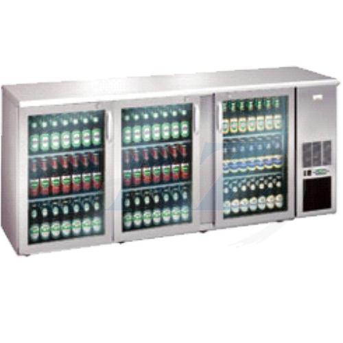 Stôl chladiaci barový, 3 x presklené dvere, nerezový, ECO/222GMUCS