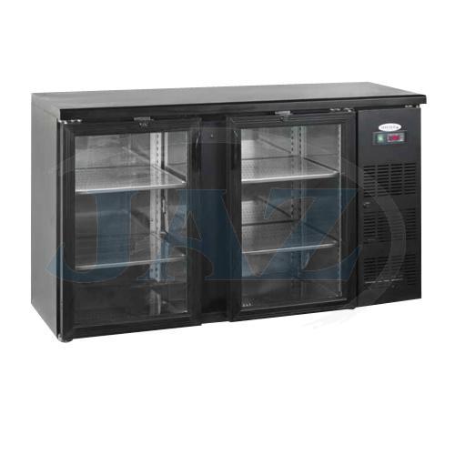 Stôl chladiaci barový, 2 x presklené dvere, antracit, CBC-210G