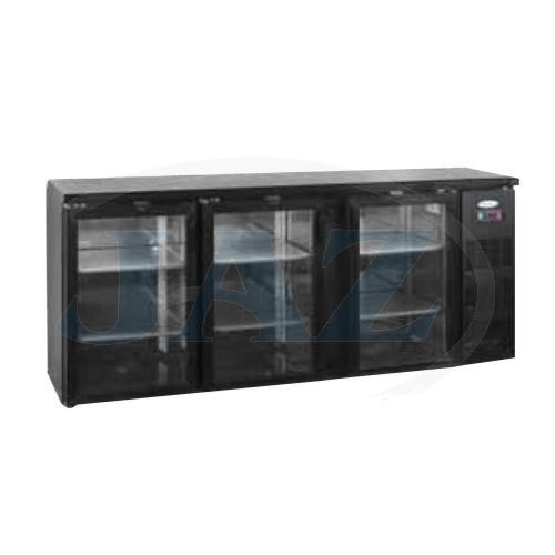 Stôl chladiaci barový, 3 x presklené dvere, antracit, CBC-310G