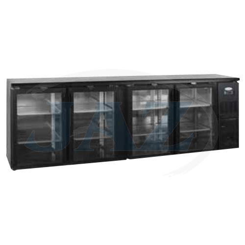 Stôl chladiaci barový, 4 x presklené dvere, antracit, CBC-410G