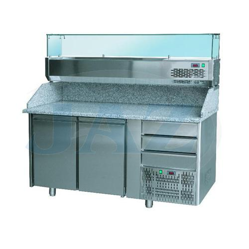 Stôl pizza, 2 x dvere, zásuvky, s chlad. vitrínkou 7xGN1/4, SCHP 2D3Z