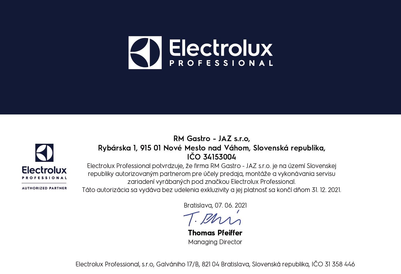 certifikat electrolux